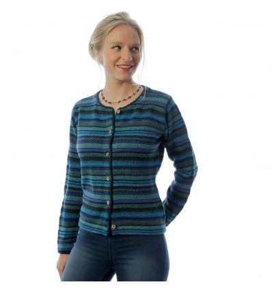 Manuela Bedford Rayas Turqoois knoop vest