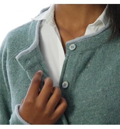 Irelands Eye Chanellook vestje merino wol cashmere ierland sea green