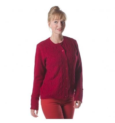 Foxrock cardigan merino wol cashmere Irelands Eye warm rood