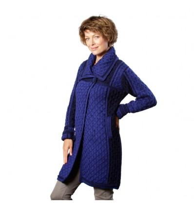 Aran vest lang 2 knopen navy blauw met kobaltblauw