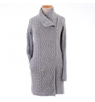 Aran Craft kabelvest met dubbele rits zijwaarts soft grey