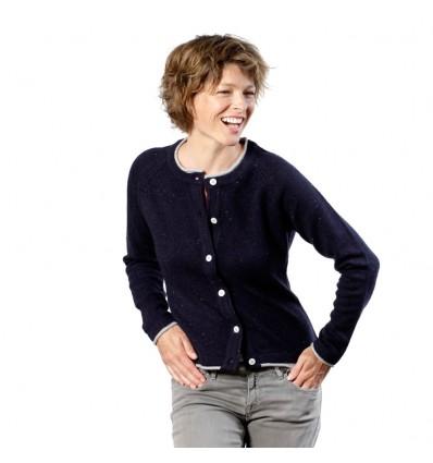Chanel-look donkerblauw wollen vest